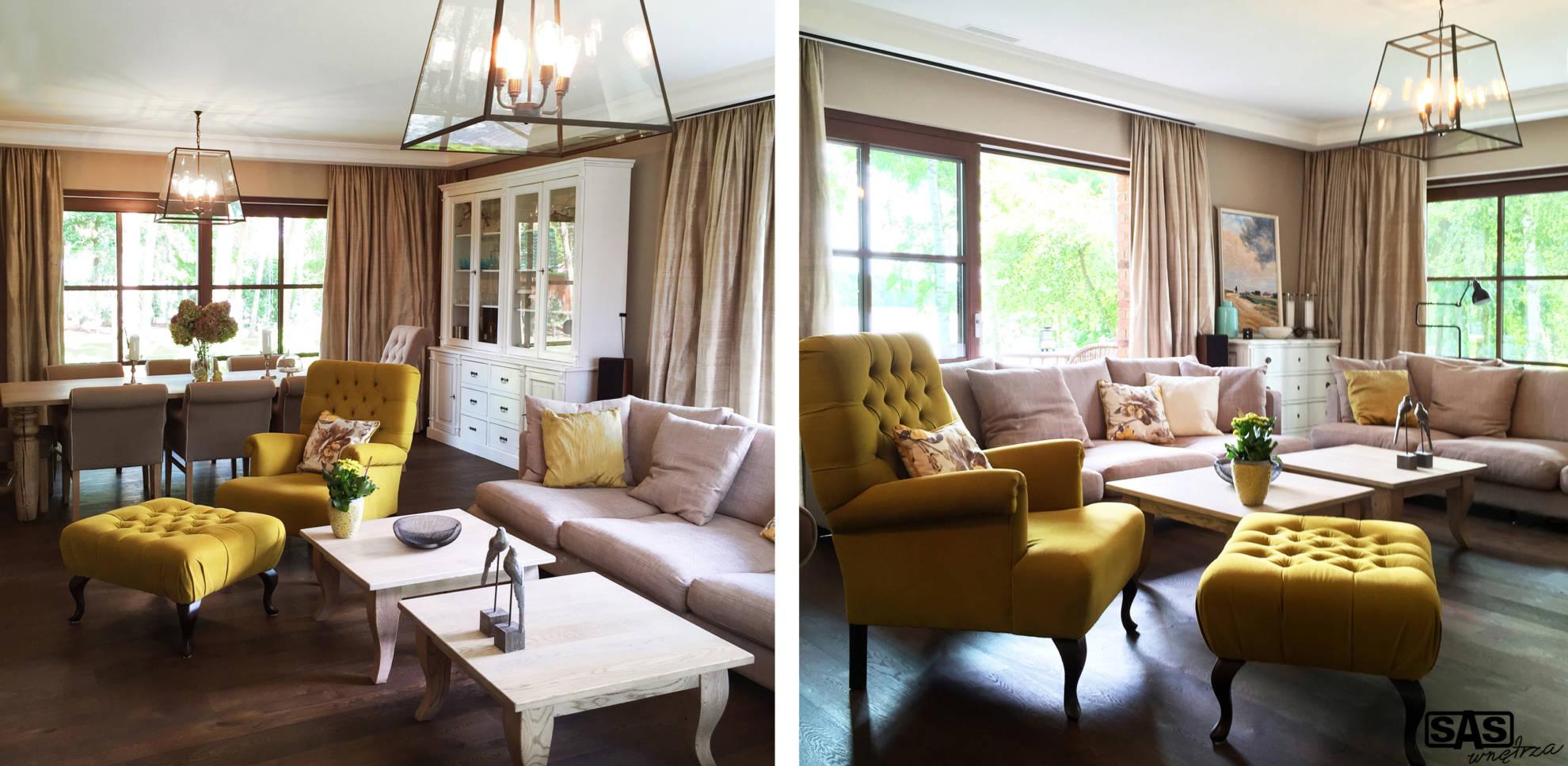 Aranżacja salonu domu jednorodzinnego - architekt wnętrz Emilia Strzempek Plasun