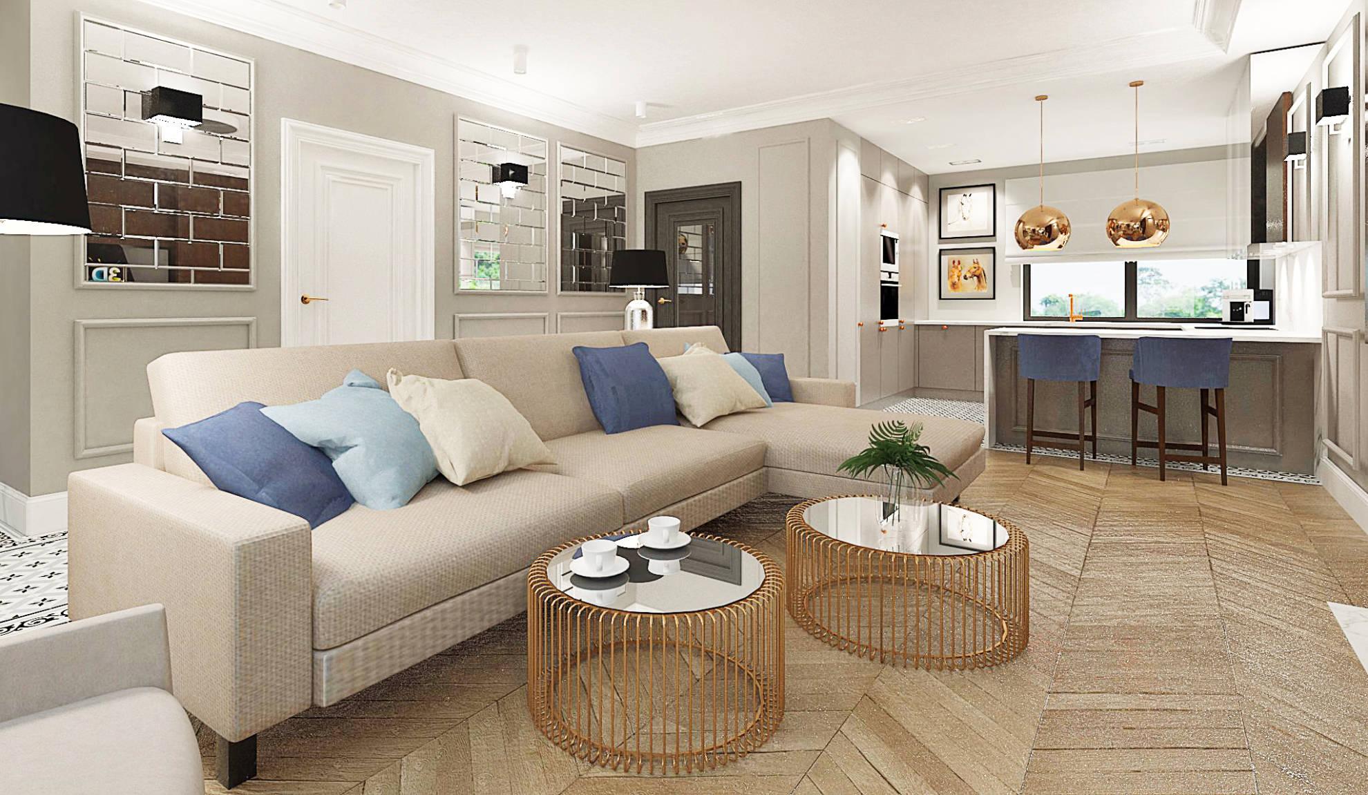 Aranżacja salonu w mieszkaniu - projekt architekt wnętrz Emilia Strzempek Plasun