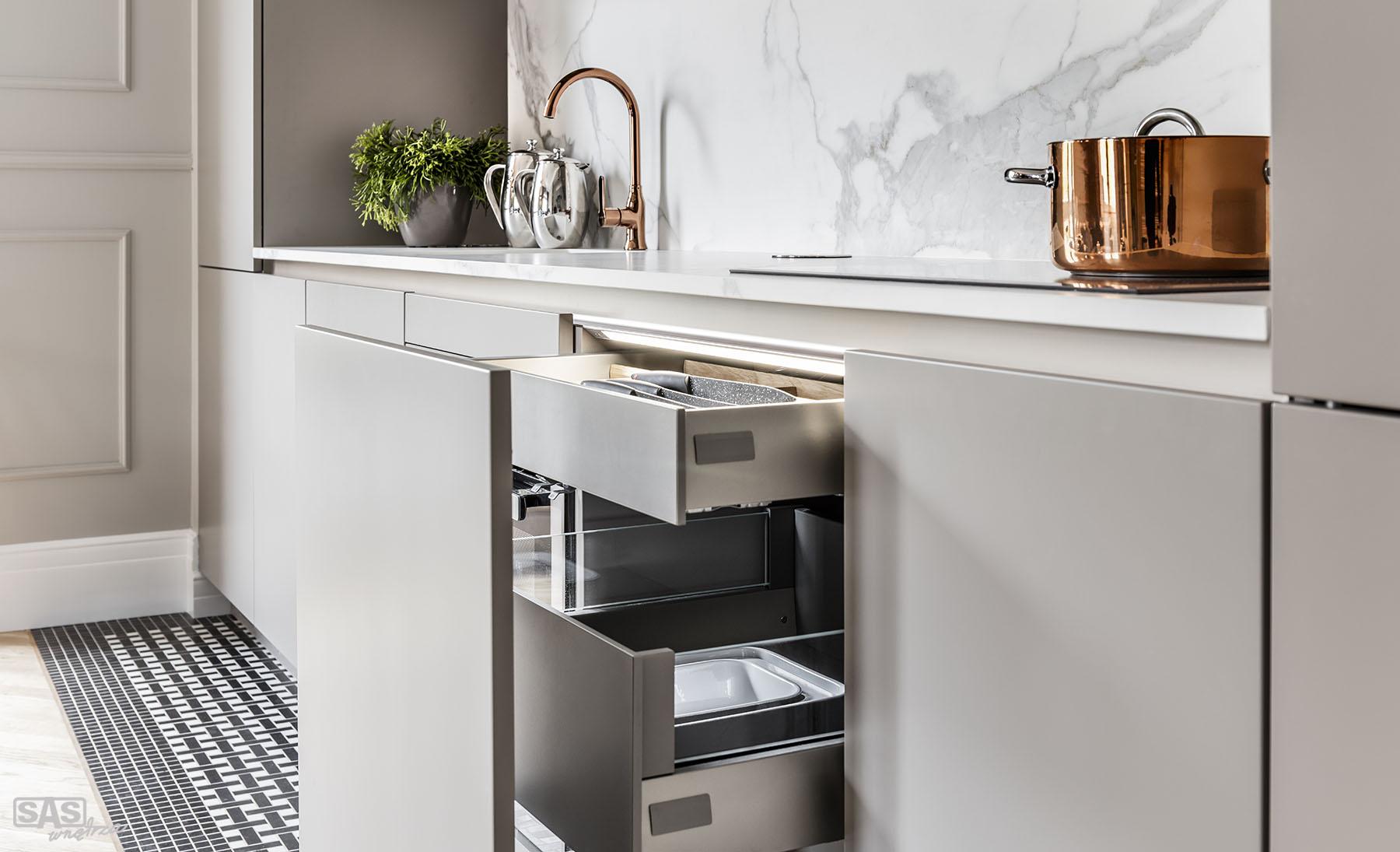 Meble kuchenne Gabriel - meble kuchenne wykonała firma SAS Wnętrza i Kuchnie - projekt architekt wnętrz Emilia Strzempek Plasun.