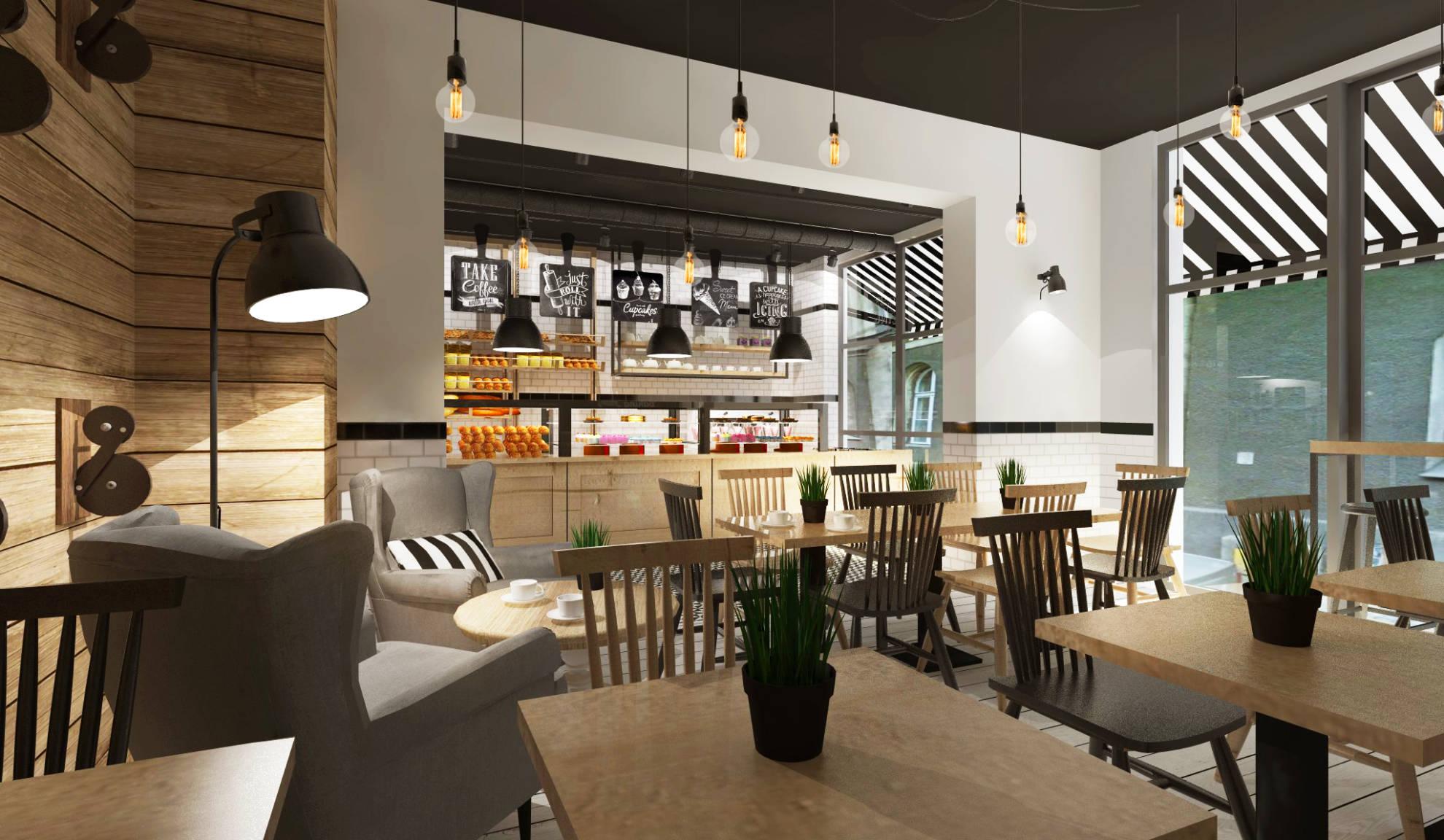 Projekt aranżacji kawiarni - architekt wnętrz Emilia Stzempek Plasun