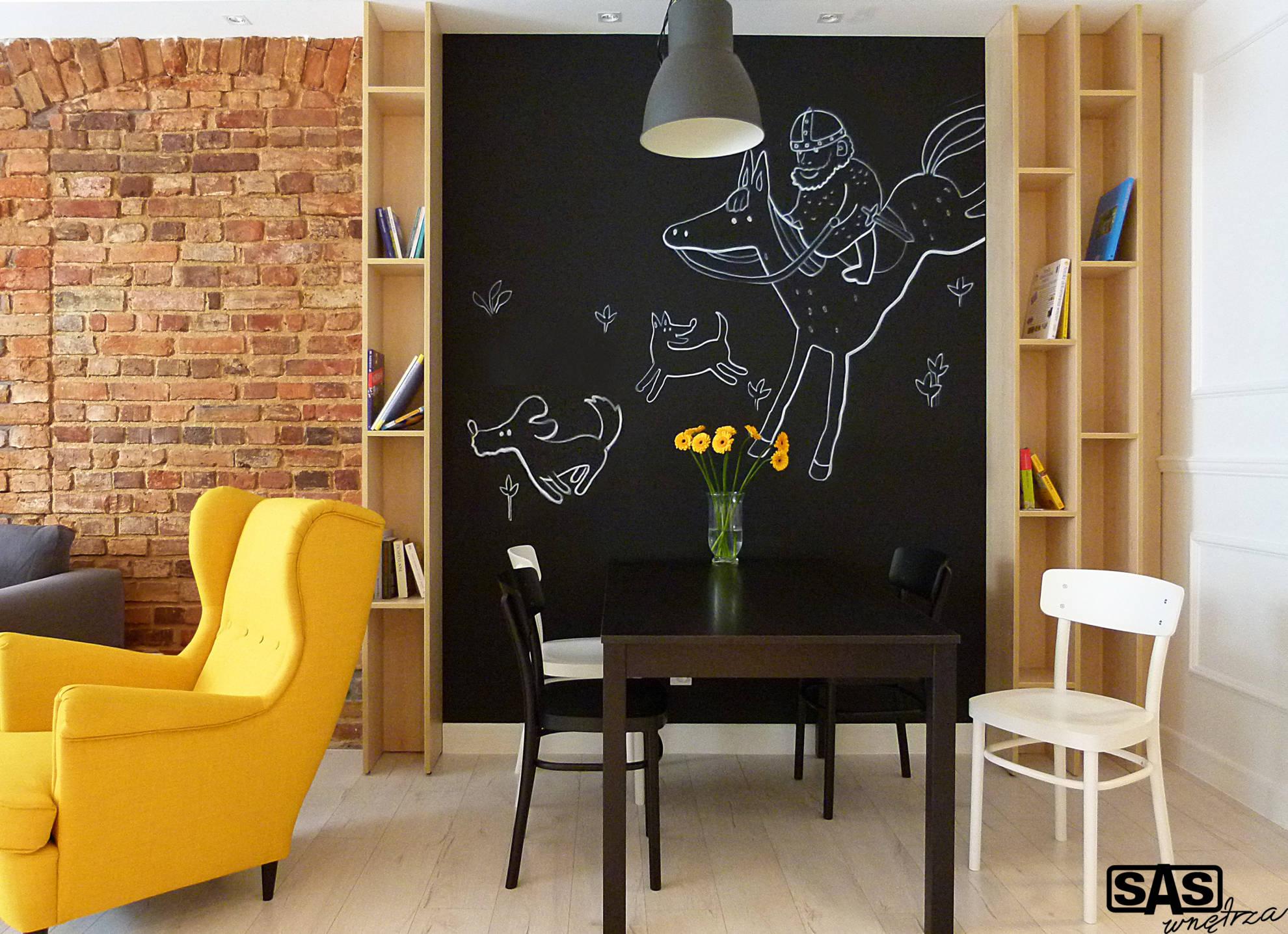 Aranżacja salonu ze strefą jadalną - projekt architekt wnętrz Emilia Strzempek Plasun.