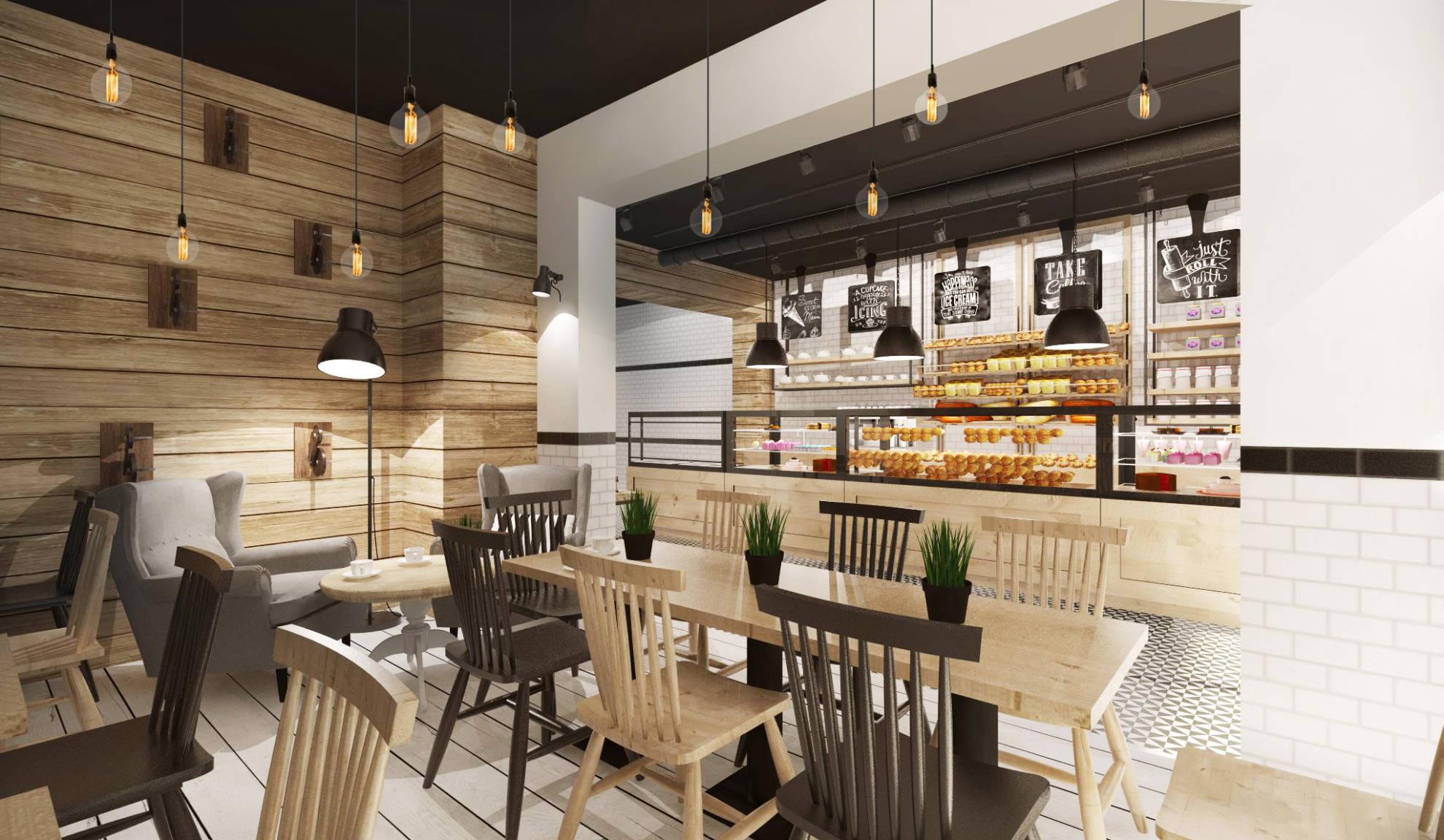 Aranżacja kawiarni - lada, sala konsumpcyjna - SAS Wnętrza i Kuchnie, projekt wnętrz architekt wnętrz Emilia Strzempek Plasun
