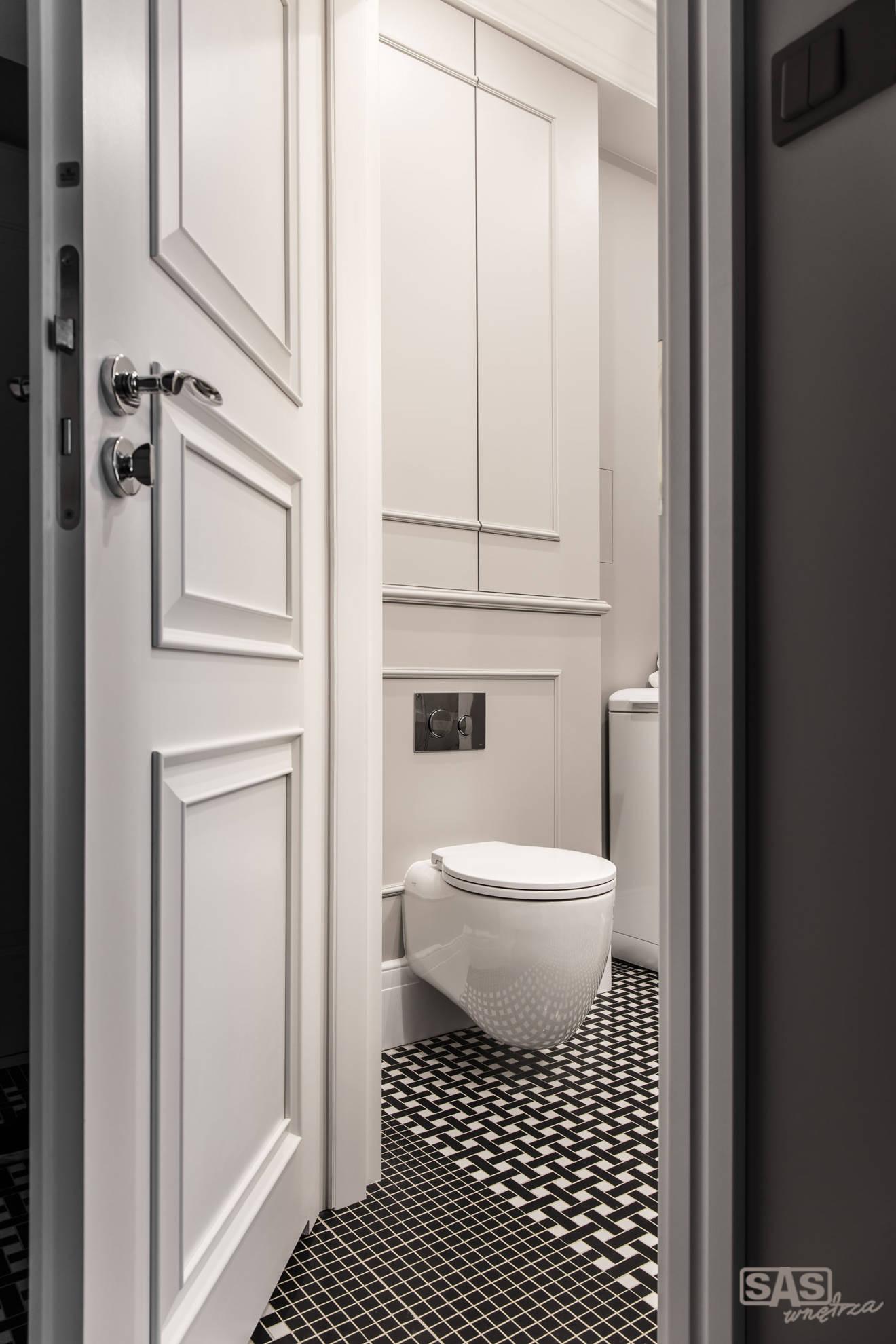 Aranżacja łazienki w mieszkaniu w kamienicy - projekt architekt wnętrz Emilia Strzempek Plasun.