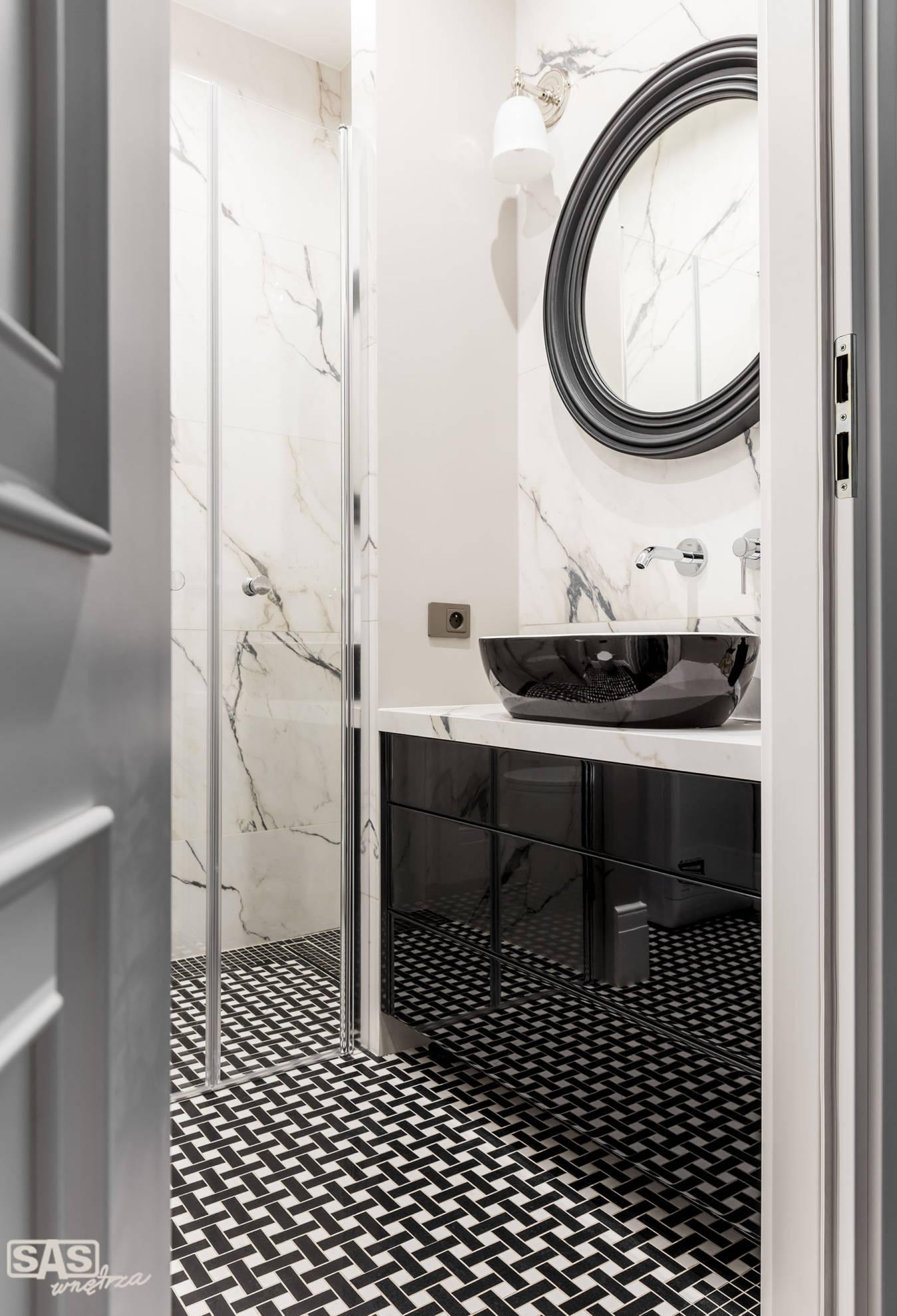Aranżacja łazienki - meble łazienkowe na miarę wykonanie SAs Wnętrza i Kuchnie - projekt architekt wnętrz Emilia Strzempek Plasun.