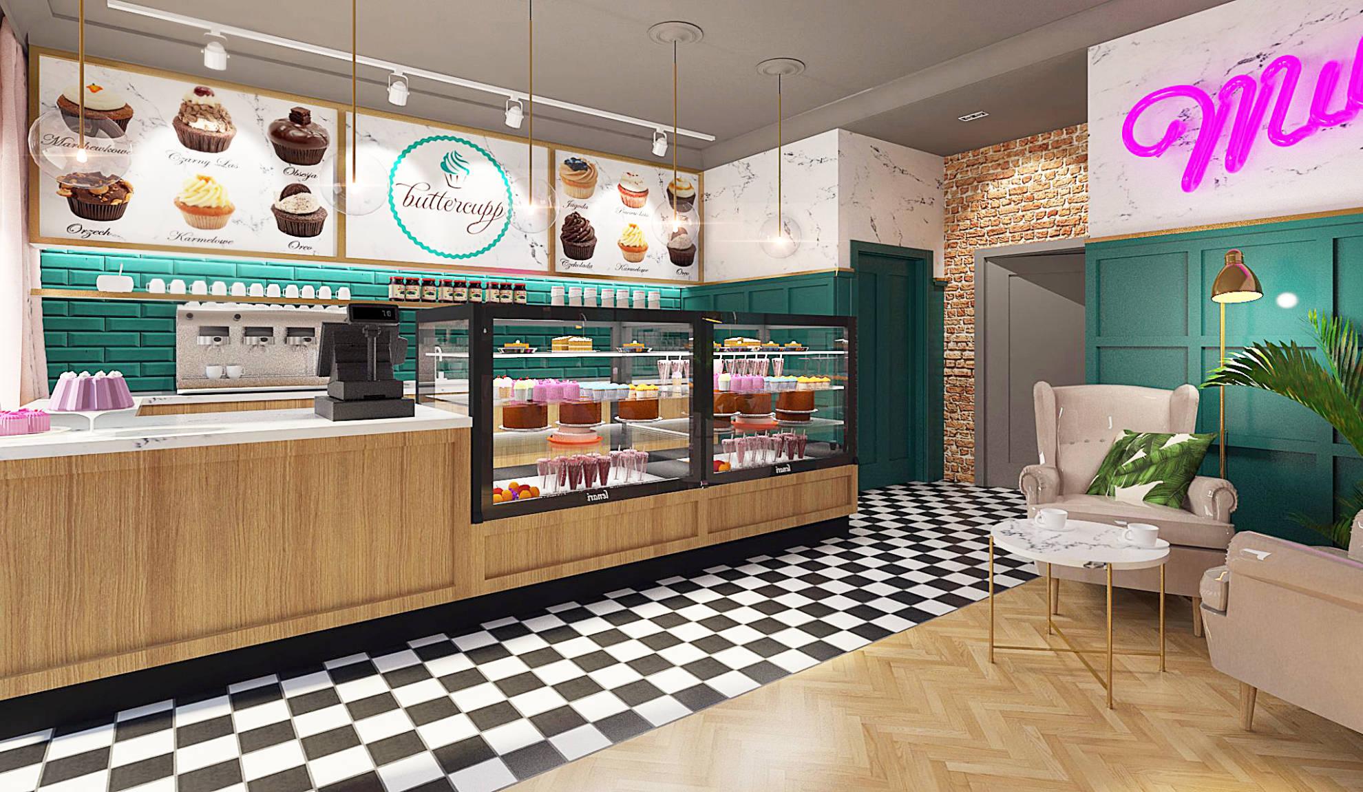 Aranżacja kawiarni - projekt architekt wnętrz Emilia Strzempek Plasun.
