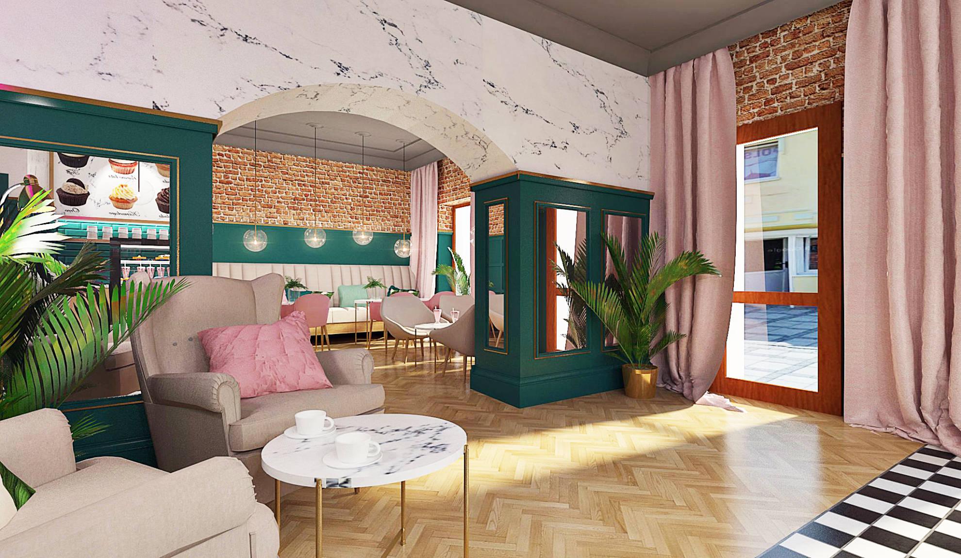 Projekt aranżacji kawiarni - projekt architekt wnętrz Emilia Strzempek Plasun.