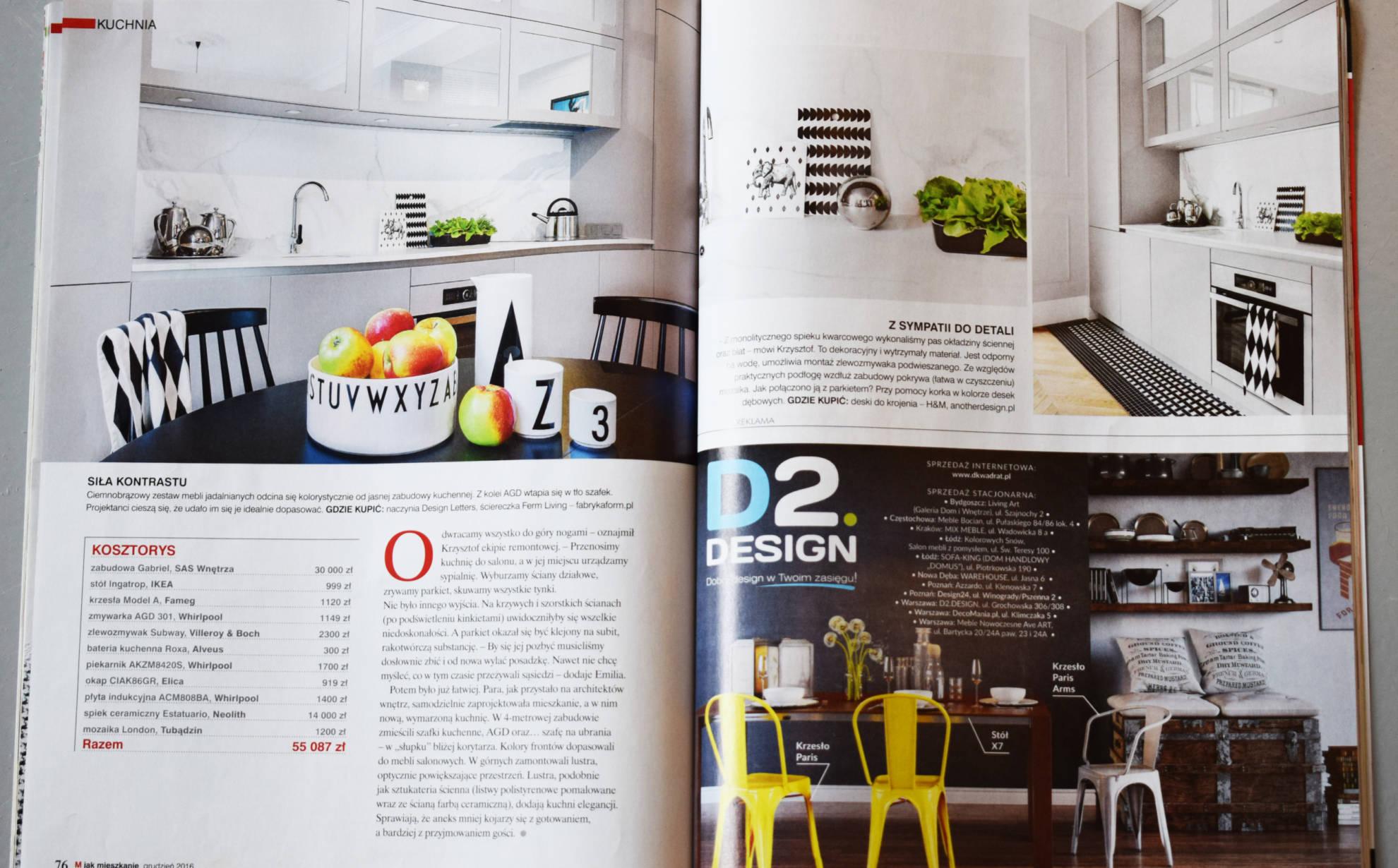 Publikacja w czasopismi branżowym - meble kuchenne Gabriel - SAS Wnętrza i Kuchnie.