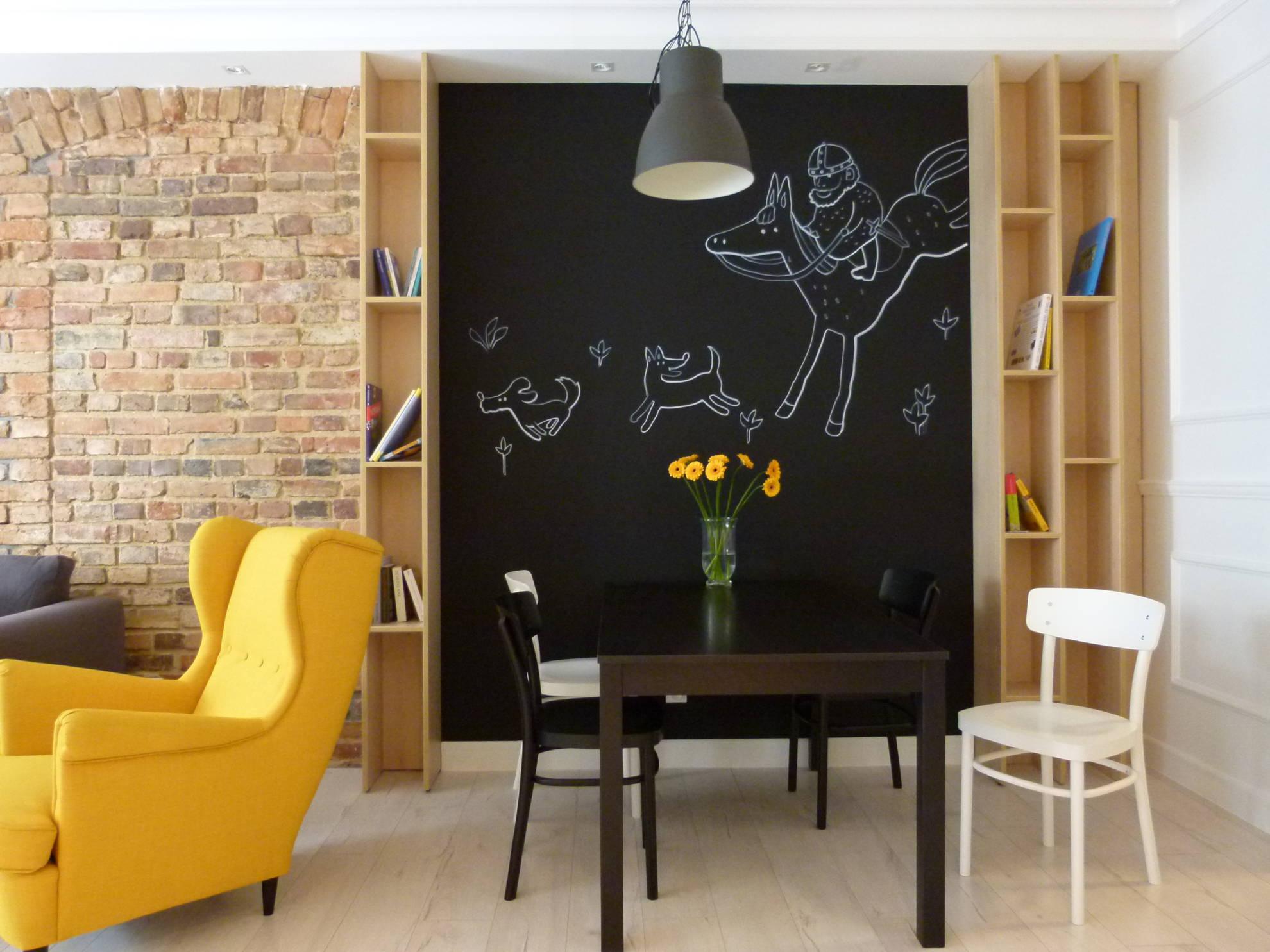 Aranżacja salonu z wydzieloną jadalnią - projekt architekt wnętrz Emilia Strzempek Plasun.