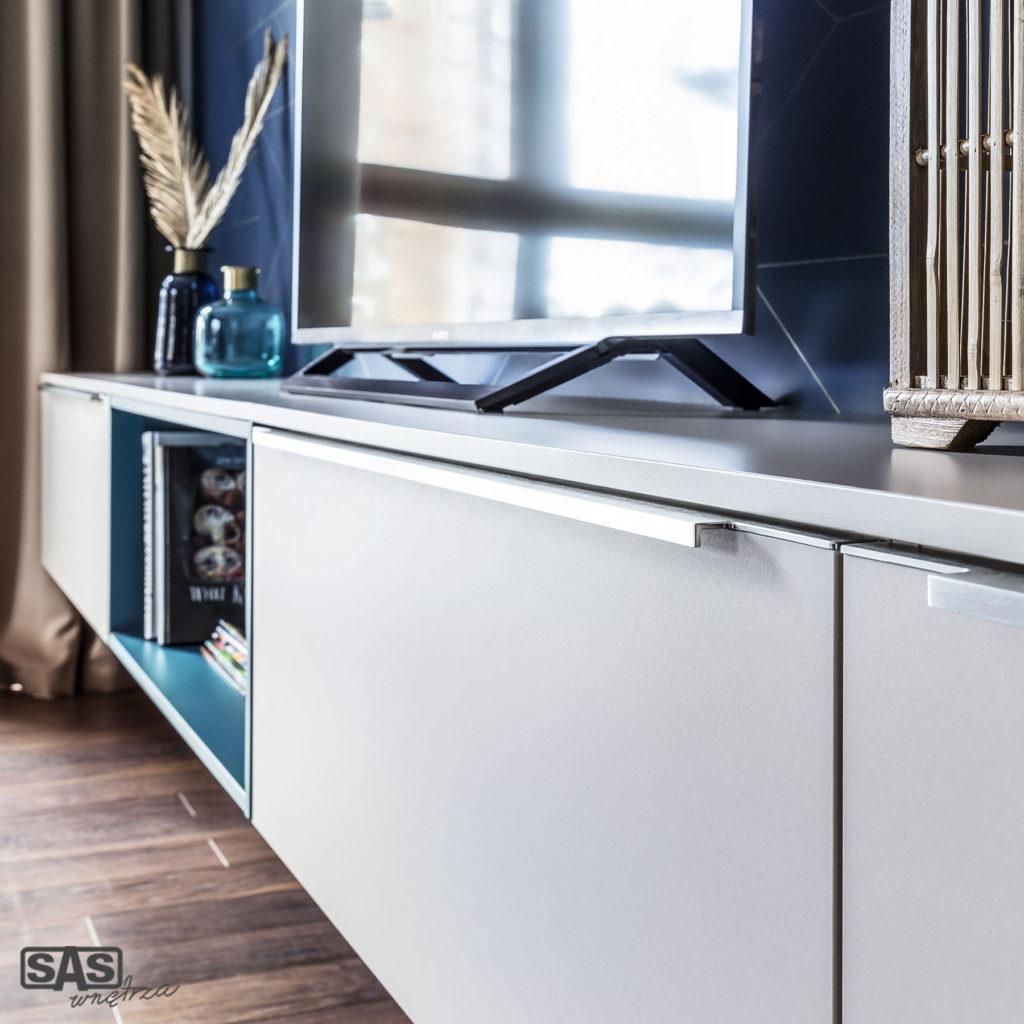 Meble na wymiar - szafka RTV - meble SAS Wnętrza i Kuchnia, projekt architekt wnętrz Emilia Strzempek Plasun.