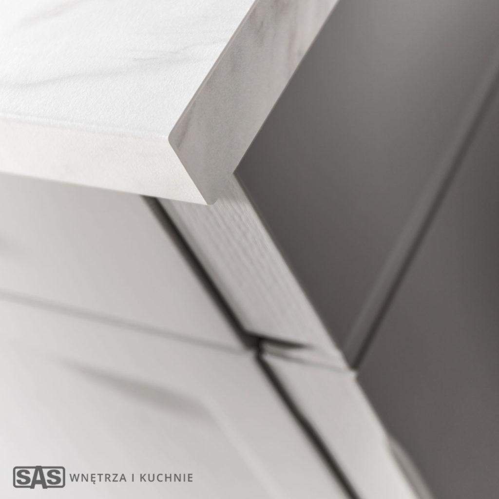 Meble kuchenne Bristol - detal: blat i fronty - meble kuchenne SAS Wnętrza i Kuchnia, projekt architekt wnętrz Emilia Strzempek Plasun.