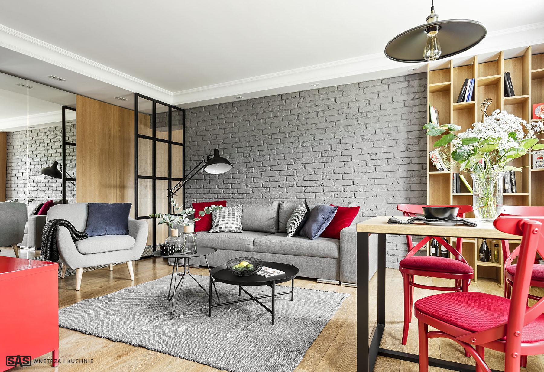mieszkanie z akcentem czerwieni sas wnętrza i kuchnie