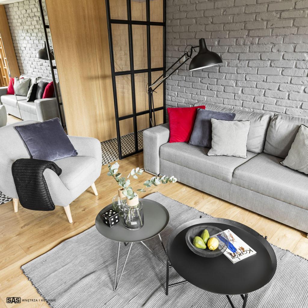 Aranżacja salonu - meble na wymiar w przedpokoju wykonanie SAS Wnętrze i Kuchnie - projekt architekt wnętrz Emilia Strzempek Plasun.