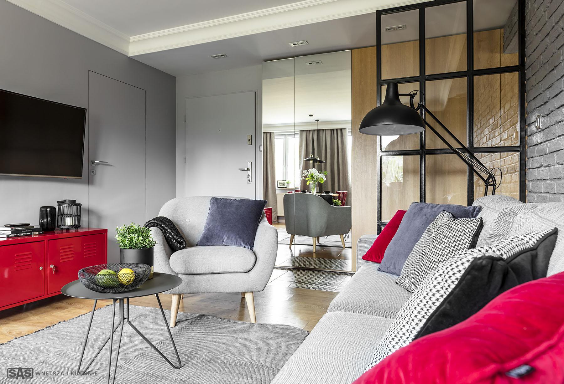 Aranżacja salonu - meble na wymiar wykonanie SAS Wnętrze i Kuchnie - projekt architekt wnętrz Emilia Strzempek Plasun.