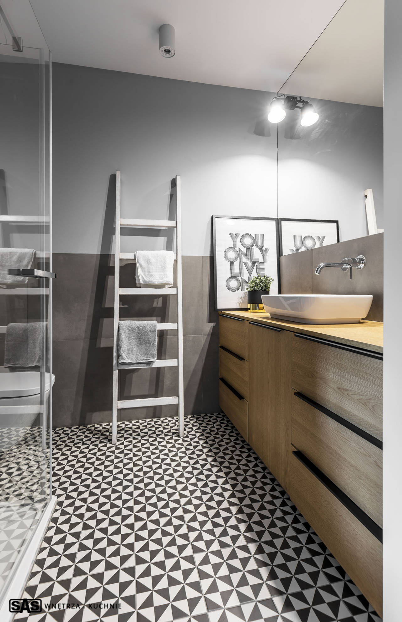 Łazienka - meble SAS Wnętrza i Kuchnia, projekt architekt wnętrz Emilia Strzempek Plasun.
