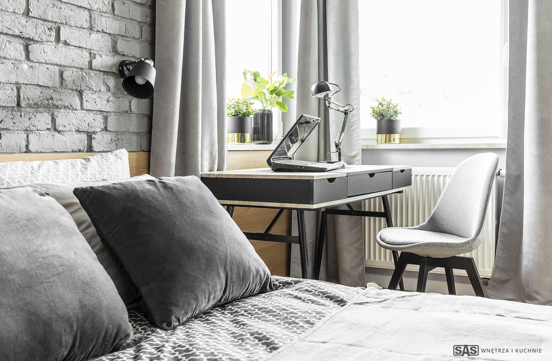Aranżacja sypialni - zagłówek wykonanie SAS Wnętrze i Kuchnie - projekt architekt wnętrz Emilia Strzempek Plasun.