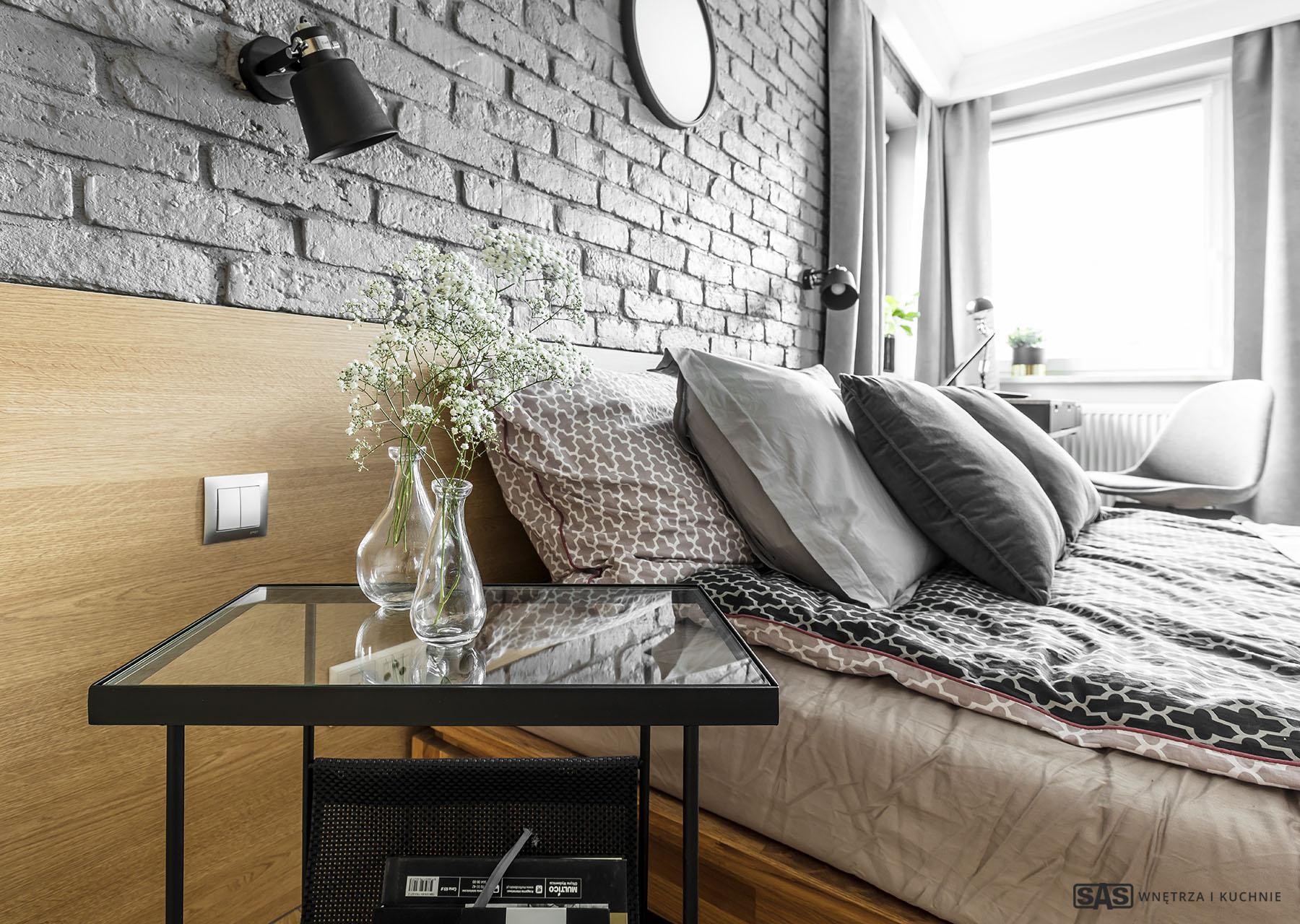 Sypialnia - zagłówek wykonanie SAS Wnętrze i Kuchnie - projekt architekt wnętrz Emilia Strzempek Plasun.