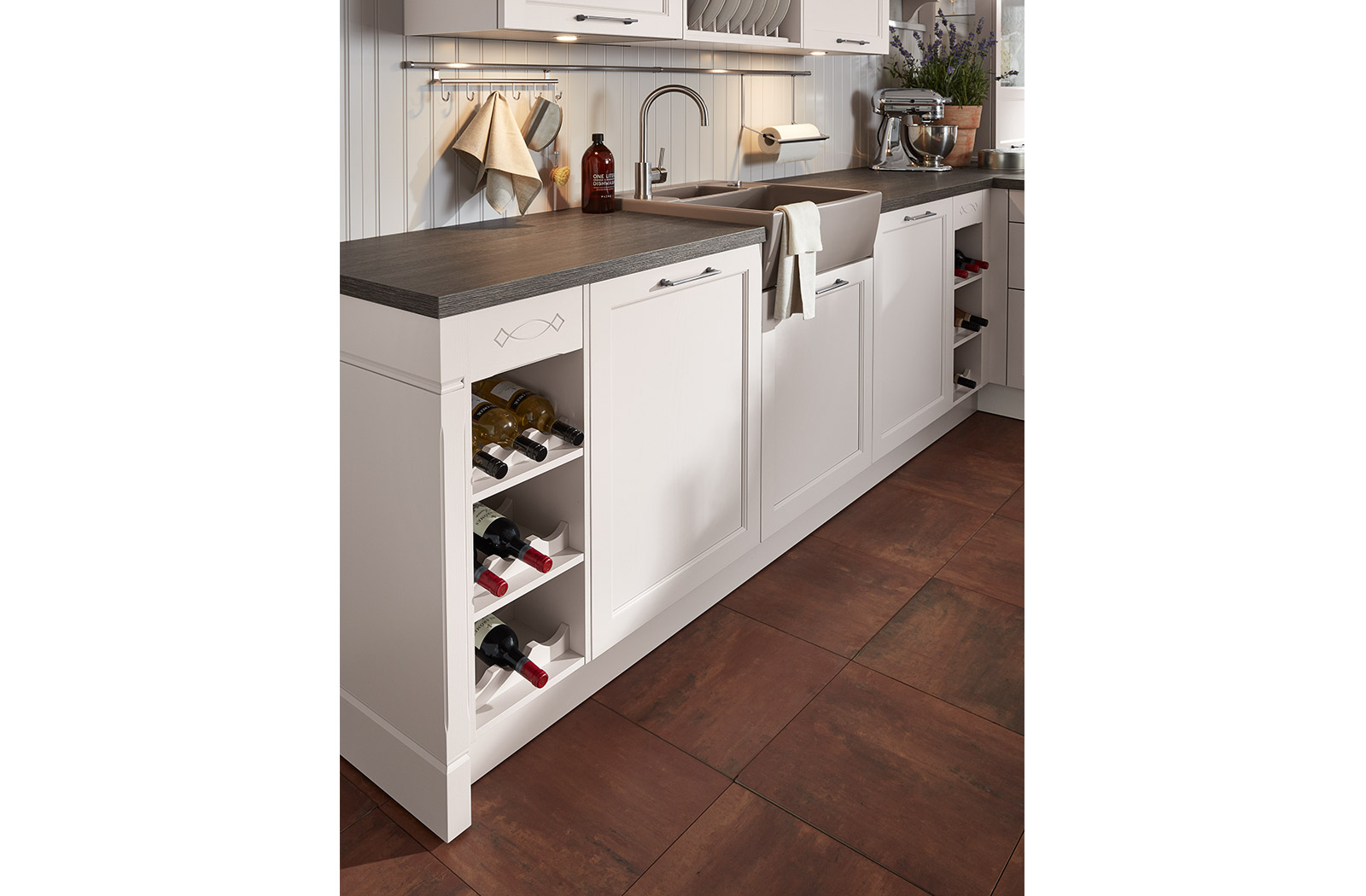 Meble kuchenne Satin - półka na wino - oferta SAS Wnętrza i Kuchnie - Meble Kuchenne i Projektowanie wnętrz.