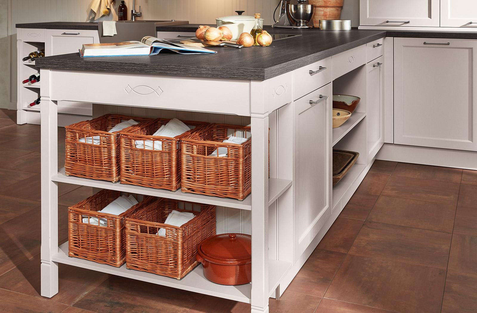 Meble kuchenne Satin - otwarte regały - oferta SAS Wnętrza i Kuchnie - Meble Kuchenne i Projektowanie wnętrz.