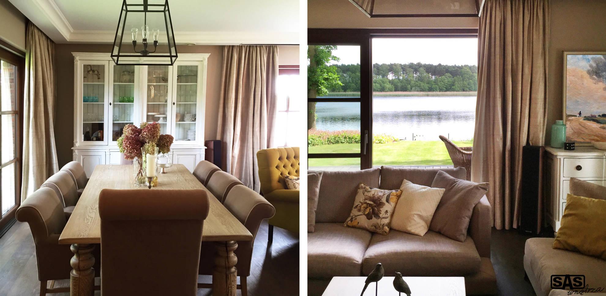 Aranżacja jadalni oraz otwartego salonu w domu jednorodzinnym - projekt architekt wnętrz Emilia Strzempek Plasun.