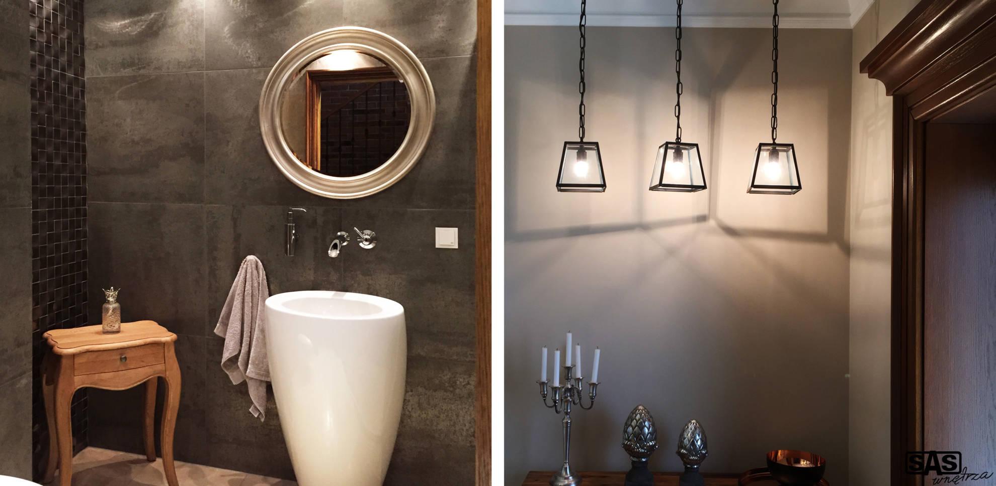 Aranżacja łazienki w domu jednorodzinym - projekt architekt wnętrz Emilia Strzempek Plasun.