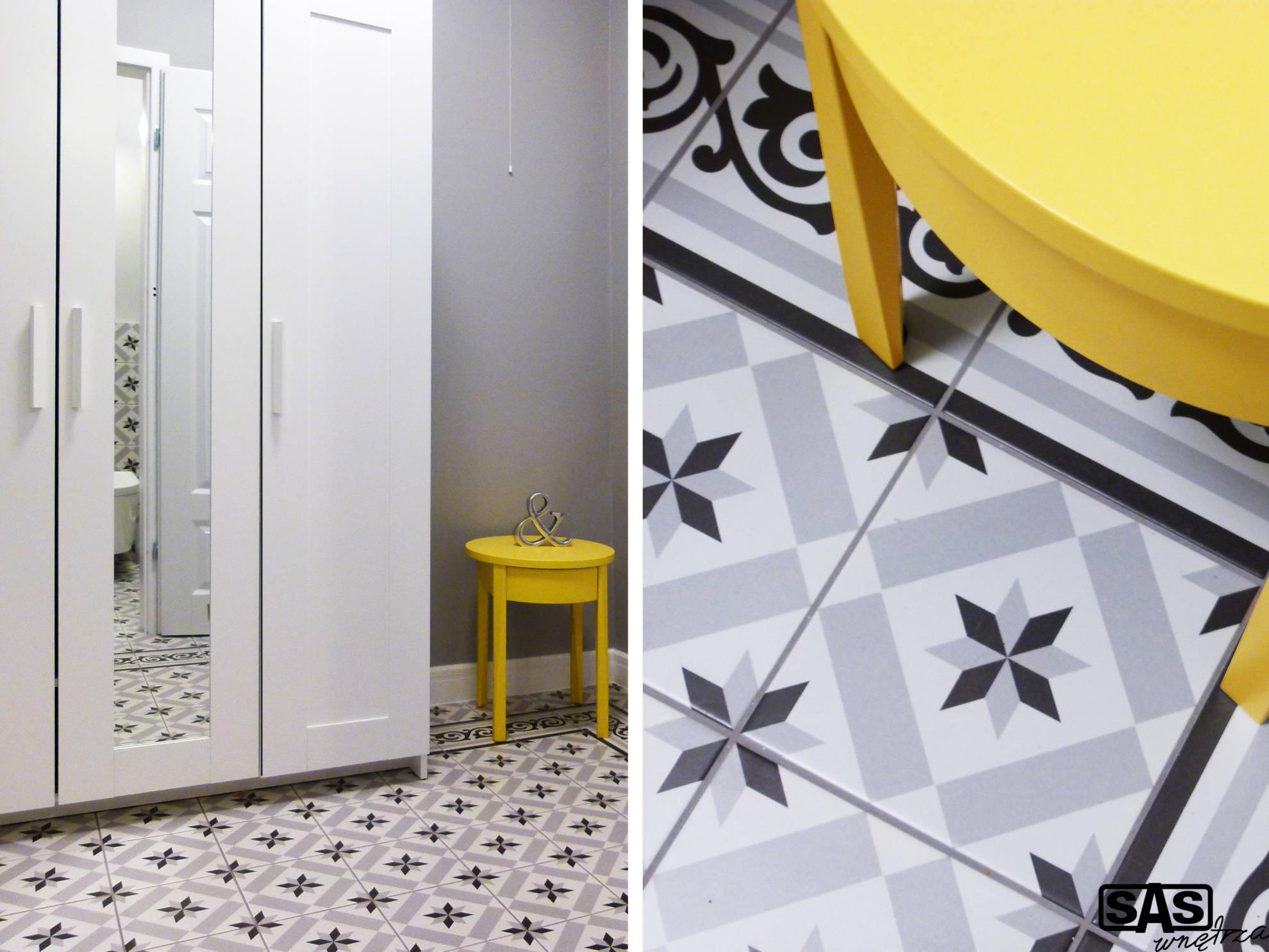 Aranżacja przedpokoju w mieszkaniu na wynajem - meble wykonanie SAS Wnętrza i Kuchnie, projekt architekt wnętrz Emilia Strzempek Plasun.