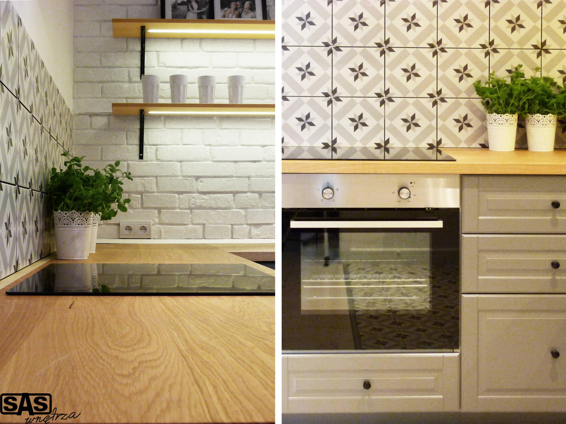 Aranżacja kuchni w mieszkaniu na wynajem - meble kuchenne wykonanie SAS Wnętrza i Kuchnie, projekt architekt wnętrz Emilia Strzempek Plasun.