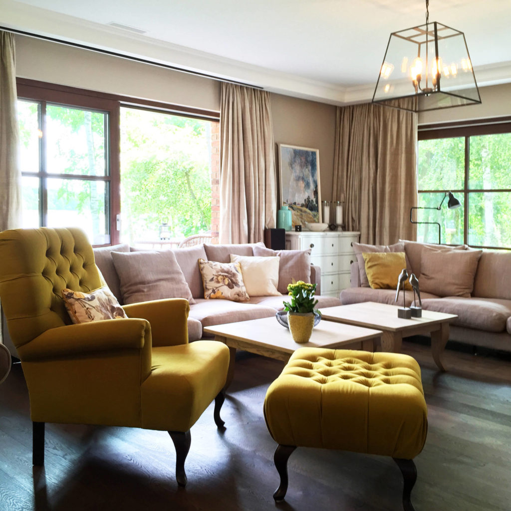 Salon, strefa wypoczynkowa w domu jednorodzinnym - projekt architekt wnętrz Emilia Strzempek Plasun.
